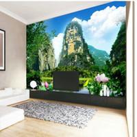 живопись пейзажного фона оптовых-Пользовательские большой домашний декор нетканые обои карстовые пейзажи гостиной телевизор фоне стены пейзаж китайская живопись обои
