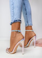 ingrosso scarpe con tacco scarpe blu-Sandali delle scarpe col tacco alto con cerniera e cerniera