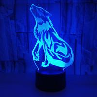 nachtsicht führte lichter großhandel-Wolf 3D Vision Tischleuchte Touch LED Acryl Lampe Illusion Licht Kreatives 3D Nachtlicht