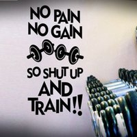 Wholesale sports quotes for sale - Group buy No Pain No Gain Barbell Fashion Pattern Wall Stickers for Sport Room Background Vinyl Art Mural Decals Gym Quotes
