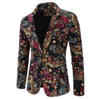 etnik giyim erkek toptan satış-Erkek Tasarımcı Blazers 2019 Erkek Sonbahar Ceket Giyim Baskı Kostüm Suit Erkekler için Ince Blazer Etnik Tarzı Rahat Blazer ve Suits