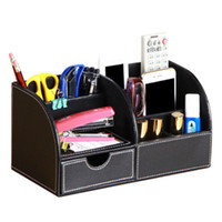 Wholesale desk stationery holder for sale - Group buy wood leather multi function desk stationery organizer pen pencil holder storage box case container black A259
