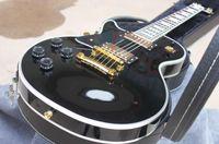 ingrosso chitarra elettrica sinistra a mano libera-perfetto oro Miglior prezzo di alta qualità del LP chitarra elettrica hardware mano su ordinazione sinistra e nero guscio duro di trasporto