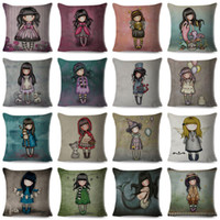 Wholesale lovely pillowcase for sale - Group buy Lovely Girl Printed Decorative Pillow Case Flax Square Cushion Cover cm Mulit Styles Pillowcase Household my E1