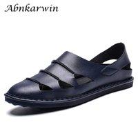 calzado casual de verano para hombre al por mayor-2019 Sandalias para hombre de cuero genuino transpirable de verano Slip casual en calzado para hombre talla grande 48