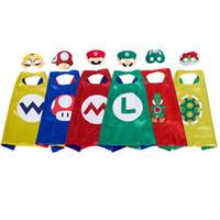 caráteres do dia das bruxas venda por atacado-6 personagens dos desenhos animados capa de super-heróis com máscara para crianças 27 polegada super mario trajes cosplay cape yoshi wario koopa festa favores halloween