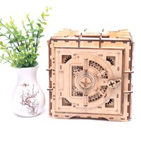 Wholesale animal piggy banks resale online - Personality mechanical model lock box wooden D spell insert piggy bank creative toy DIY wooden safe child gift Y200413