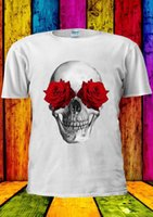 rote rosenweste großhandel-Rote Rosen und SKULL SUMMER FESTIVAL T-Shirt Weste Tank Top Herren Damen Unisex 1752 Kurzarm Plus Size T-Shirt Farbe Jersey Druck T-Shirt