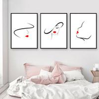 conjunto de quarto preto vermelho venda por atacado-3 pçs / set Grande Abstrato Da Arte Da Parede Da Lona Preto-Branco-Vermelho Linha Desenho Pintura, Minimalista Nordic Retrato Da Parede Para O Quarto Das Meninas