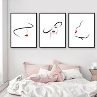 3pcs / set Grand Abstrait Toile Mur Art Noir-Blanc-Rouge Ligne Dessin  Peinture, Nordique Minimaliste Mur Photo Pour Filles Chambre