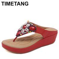 ingrosso sandali di stile etnico-TIMETANGNuovo stile etnico vendita calda Boemia perline con grandi dimensioni 35-42 sandali comode scarpe donna sandali Heel tacco