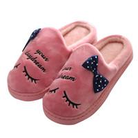 zapatillas antideslizantes al por mayor-2019 zapatillas de punta redonda zapatos de mujer cálida carta de felpa zapatillas suaves en el interior antideslizante piso dormitorio zapatos niñas interiores