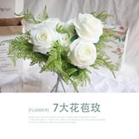 oda dekorasyonu güller toptan satış-Dokuz güller simüle gül sahte buket ipek çiçek sanat duvar dekorasyon çiçek oturma odası dekorasyon düğün