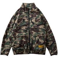 camo taktische jacken großhandel-2019 Männer Hip Hop Jacke Streetwear Camouflage Jacke Windbreaker Harajuku Retro Tactical Military Camo Track Jacken Mantel Reißverschluss