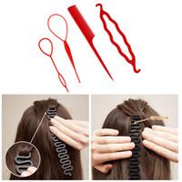bükümlü saç tokası toptan satış-4 Adet / takım 3 Çeşit Sihirli HairPin Bun Rulo Maker Şekillendirici Seti Braiders Saç Örgü Uzatma Büküm Bigudi Şekillendirici Aracı