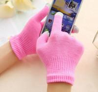 ingrosso uncinetto a dito-15 colori guanti touch screen caldi guanti antiscivolo capacitivi guanti a dita piene guanti all'uncinetto o iphone x ipad nota Samsung