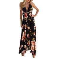 ingrosso abito da donna floreale-Vestito da donna Summer Boho Maxi Long Dress Evening Sexy Party Beach Abiti Vestito estivo Halter vestaglia vestitino estivo