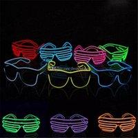 el tel neon blue toptan satış-Mavi el gözlük El Tel Moda Neon LED Işık Up Shutter Şekilli Glow Rave Kostüm Partisi DJ Parlak Gözlük Toptan bb153-160 2018011003