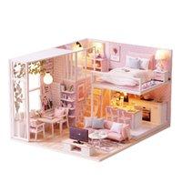 construir bloques de casa al por mayor-Diy rompecabezas miniatura juguete casa de muñecas modelo muebles de madera bloques de construcción juguetes regalos de cumpleaños PINK LOFT VILLA regalos de Navidad
