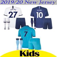 Wholesale thailand soccer kits for sale - Group buy New Thailand KANE SON spurs Kids Kit Soccer Jersey LUCAS ERIKSEN DELE Tottenhames home Away rd white blue football jerseys