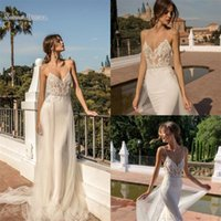 Wholesale cheap plus size wedding dresses for sale - 2019 Bohemian Cheap Mermaid Wedding Dresses Spaghetti Straps Lace Bridal Gowns Backless with Overskirt Hot Sales
