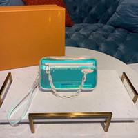 klare pvc-kisten für süßigkeiten großhandel-Sommer klar transparent und blendend PVC Jelly Bag bunte Candy Farbe Design Frauen Handtasche Messenger Fashion Taschen size21cm Original Box
