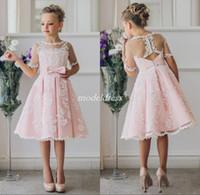 Wholesale sheer black dress for christmas online - 2019 Pink Lovely Flower Girl Dresses For Weddings Sheer Neck Hollow Back Short Sleeve Knee Length Appliques Girls Pageant Dress Cheap