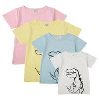 camisetas estampadas de dibujos animados para niñas al por mayor-Niña de dibujos animados camiseta Niños impresos Dinosaurio Bebé manga corta cuello redondo Top Algodón Color sólido Niños delgados Camisetas