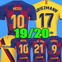 uniformes de futebol set men venda por atacado-2019 2020 barcelona DE JONG camisas de futebol de barce Lionel MESSI camisa de futebol Rakitic fotoball jersey novo 19 20 kits