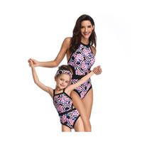ingrosso costumi da bagno-Costume da bagno per bambini e capretti Costume intero per bambini Stampa femminile Bambini Stampa blu Pezzo a vita alta Confezione Hip 4