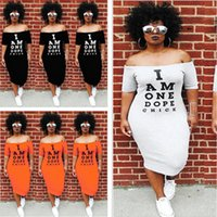 Wholesale street one dresses for sale - Group buy Women Off Shoulder Summer Dress I am one dope chick Letters Print Short Sleeve Flat Shoulders Out Skirt Club Street Long Dresses S XL B491