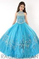 mavi tül çiçek kız elbisesi toptan satış-2020 Yeni Kristal Boncuk Ucuz Küçük Kızlar Pageant elbise Tül Halter Illusion Nakış Sky Blue Çocuklar Çiçek Kız Elbise Doğum Günü törenlerinde