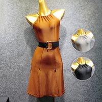 ingrosso abito spandex marrone-New Latin Dance Dress Donna Nero / Grigio / Marrone Abito latino Open Back Flamengo Dance Estate femminile 2019 VDB417