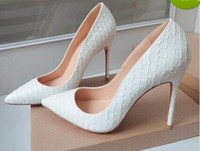 Wholesale white snakeskin high heels shoes resale online - 2019 New White Snakeskin High Heels Red Bottom Thin Heel Pointed High Heels Women Pumps Shallow Red Dress Wedding Shoes