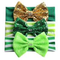 Wholesale girls glitter bow resale online - St Patrick s Day Headband For Girls Kid Glitter Hair Bow Headwear Elastic Headband Kid Festival Hair Accessories MMA1377