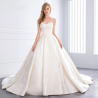 2021 Sweetheart Ball Gown Satin Wedding Dress Pearl Lace Appliques Bridesmaid Dresses Princess Luxury Cathedral Train vestidos de novia