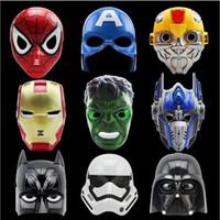 ingrosso maschere piene per gli uomini-LED Cartoon Maschere di film Supereroe Batman Spider Man Capitan America Hulk Iron Man Maschera per bambini Adulti Festa di compleanno di Halloween