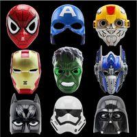 demir örümcek maskesi toptan satış-LED Karikatür Film Maskeleri Süper Kahraman Batman Örümcek Adam Kaptan Amerika Hulk Demir Adam Maske Çocuklar Yetişkinler İçin Parti Cadılar Bayramı Doğum Günü