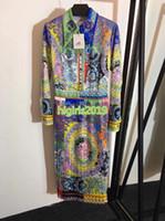vestido midi al por mayor-mujeres niñas camisa vestido patchwork impresión abalorios de cristal solapa cuello mangas largas una línea plisada faldas midi vintage vestidos de lujo de gama alta