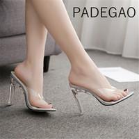 прозрачные шлепанцы оптовых-Summer Transparent  Womens High Heels Flip Flops Sexy Party Fashion Gold Slippers