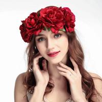 ingrosso capelli artificiali sono aumentati-Donne Rosa Hairband Corona di Capelli Archi fascia Boemia Handmade Artificiale fiore di mare hairband Corona Copricapo Da Sposa Corona GGA1696
