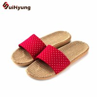напольные покрытия для обуви оптовых-Suihyung Women Flax Slippers Breathable Linen Indoor Home Floor Flat Shoes Open Toe Slippers Non-slip Casual Flip Flops Sandals