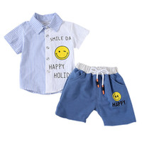 полосатые шорты верхний набор оптовых-Summer Baby Boys Clothes Outfits Shirts+Shorts Casual Tops Smile Striped Clothing Sleeve Baby 2019 Sets Print Short