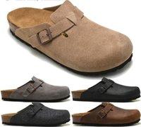 zapatillas de corcho de hombre al por mayor-Zapatillas de corcho Boston Sandalias Borken masculinas y femeninas Zapatos de cuero Hombres Mujeres Diapositiva al aire libre de calidad superior con caja