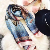 Wholesale scarf women resale online - Nice quality classic brand Silk scarf for Women New Spring Designer Floral Flower Long Scarves Scarfs Wrap With Tag x90Cm Shawls z17