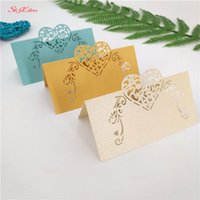 Wholesale cutting paper for wedding invitation for sale - 50pcs laser cut Name Place Seat Paper Wedding Invitation Table Cards for Party Table Decoration Marriage favors ZSH928