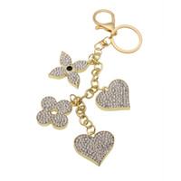 blätter klee ringe großhandel-Vier Kleeblatt Kristall Bejeweled Schlüsselanhänger Autoschlüssel Ring Handtasche Charme Geschenk für Mädchen