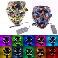 Wholesale funny cartoon masks resale online - Halloween Mask LED Light Up party Masks Funny El Wire The Ghost With Blood Election Year Great Festival Cosplay Costume Party Mask HH9