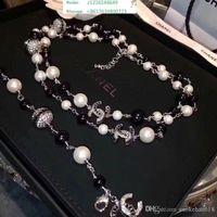 perlenkette brosche großhandel-Top Designer Luxus Diamant Lange Halskette High-End Perlenkette Frauen S Importiert Kristall Halskette 18 Karat Gold Brosche Schmuck