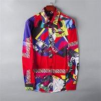 männer polka kleid hemden groihandel-New 2020 Men Casual Shirts Fashion Langarm Marke Printed Knopf-Up formales Geschäfts-Tupfen-Blumen Männer Hemd